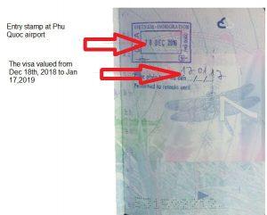 Vietnam visa exemption stamp at Phu Quoc